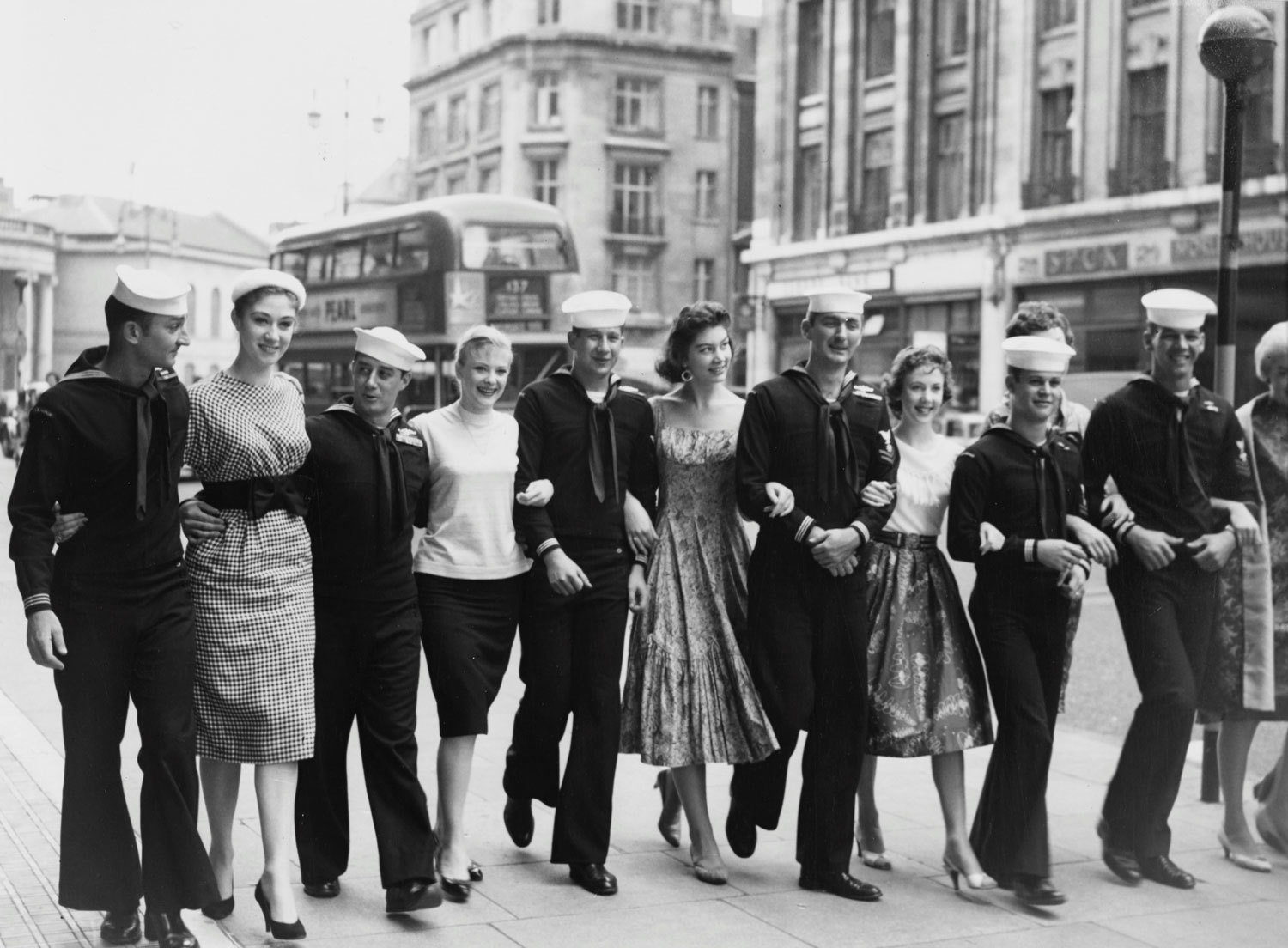 Sailors from the American nuclear submarine accompanied by London showgirls, August 1958, TopFoto, TopFoto, In Copyright