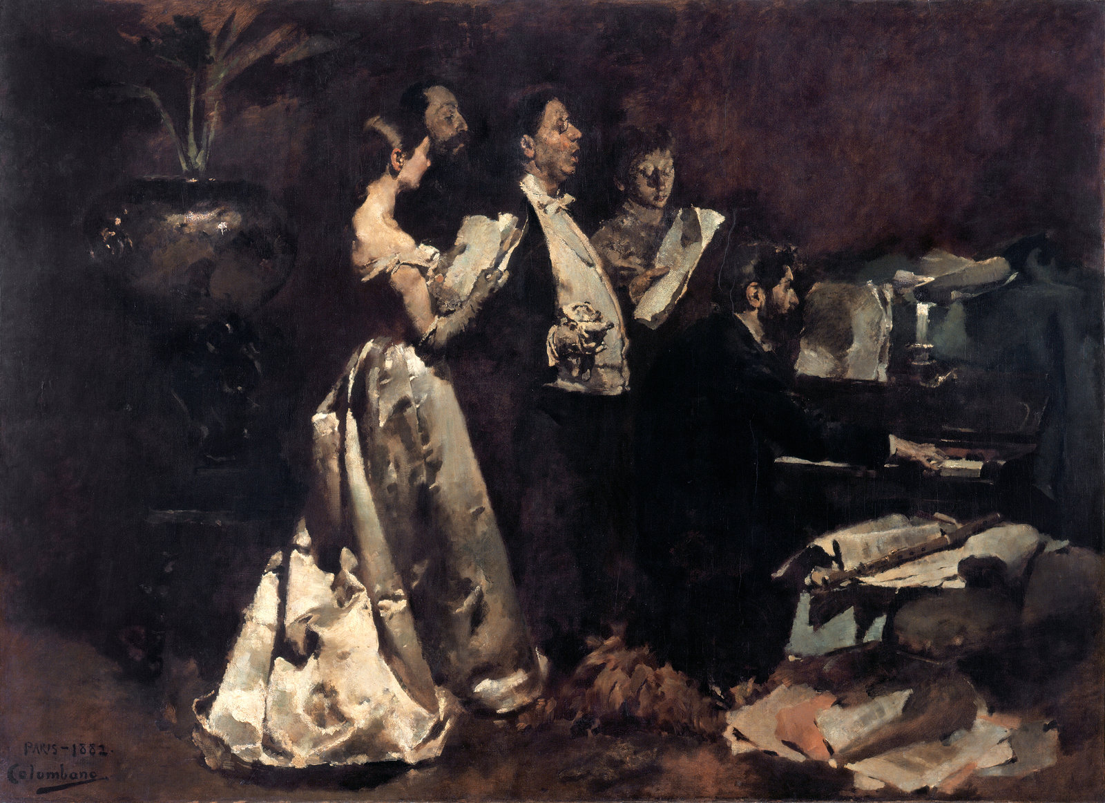 An Amateur Concert, 1882, Columbano Bordalo Pinheiro, Museu do Chiado – Museu Nacional de Arte Contemporânea, Public Domain Mark