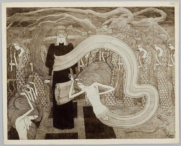 Fatalisme, Jan Toorop, Koninklijke Bibliotheek National Library of the Netherlands, Public Domain Mark