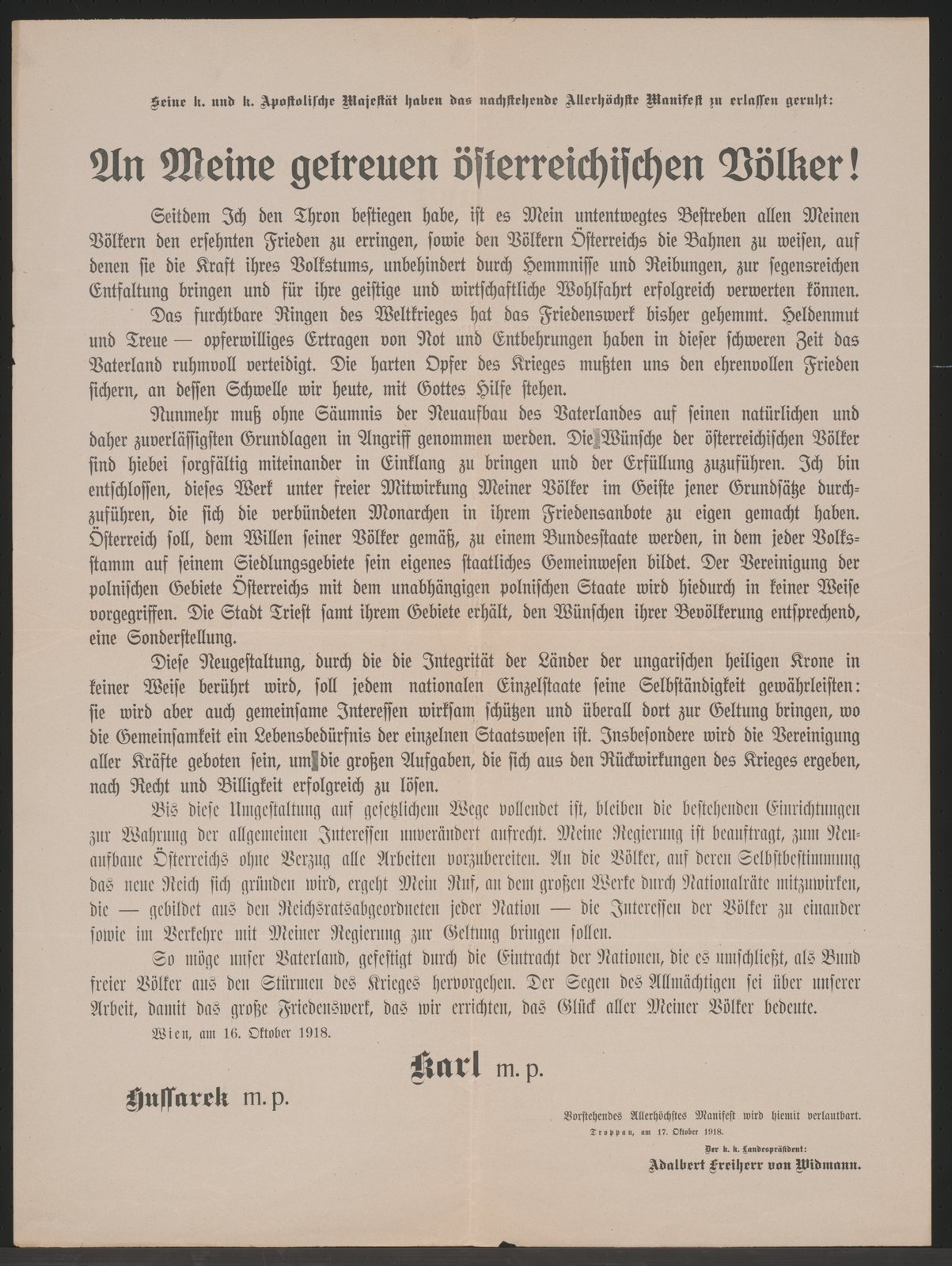 Declaration of the Emperor of Austria about the restructuring of the state Austria, 1918-10-16 Troppau, Österreichische Nationalbibliothek - Austrian National Library, Public Domain Mark