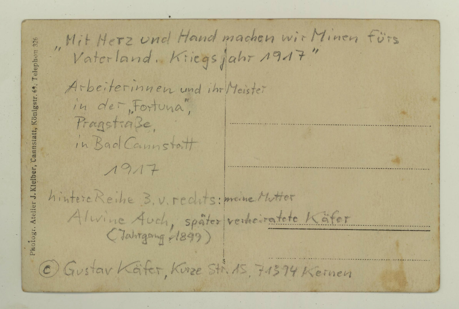 Postcard Alwina Käfer-Auch at Fortuna Factory - back, 1917, Bad Cannstatt, Stuttgart, Europeana 1914 -1918 / Gustav Käfer, CC BY-SA