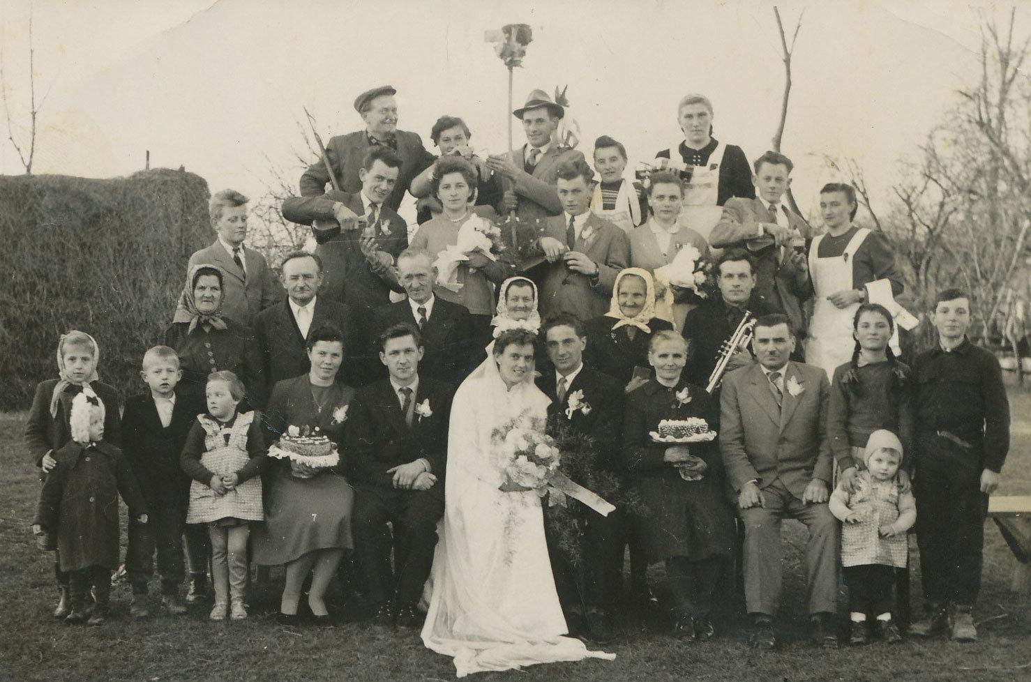 Wedding portrait with home-baked cakes, Prekmurje (Slovenia), 1959, Unknown, Pokrajinska in študijska knjižnica Murska Sobota, CC BY-NC