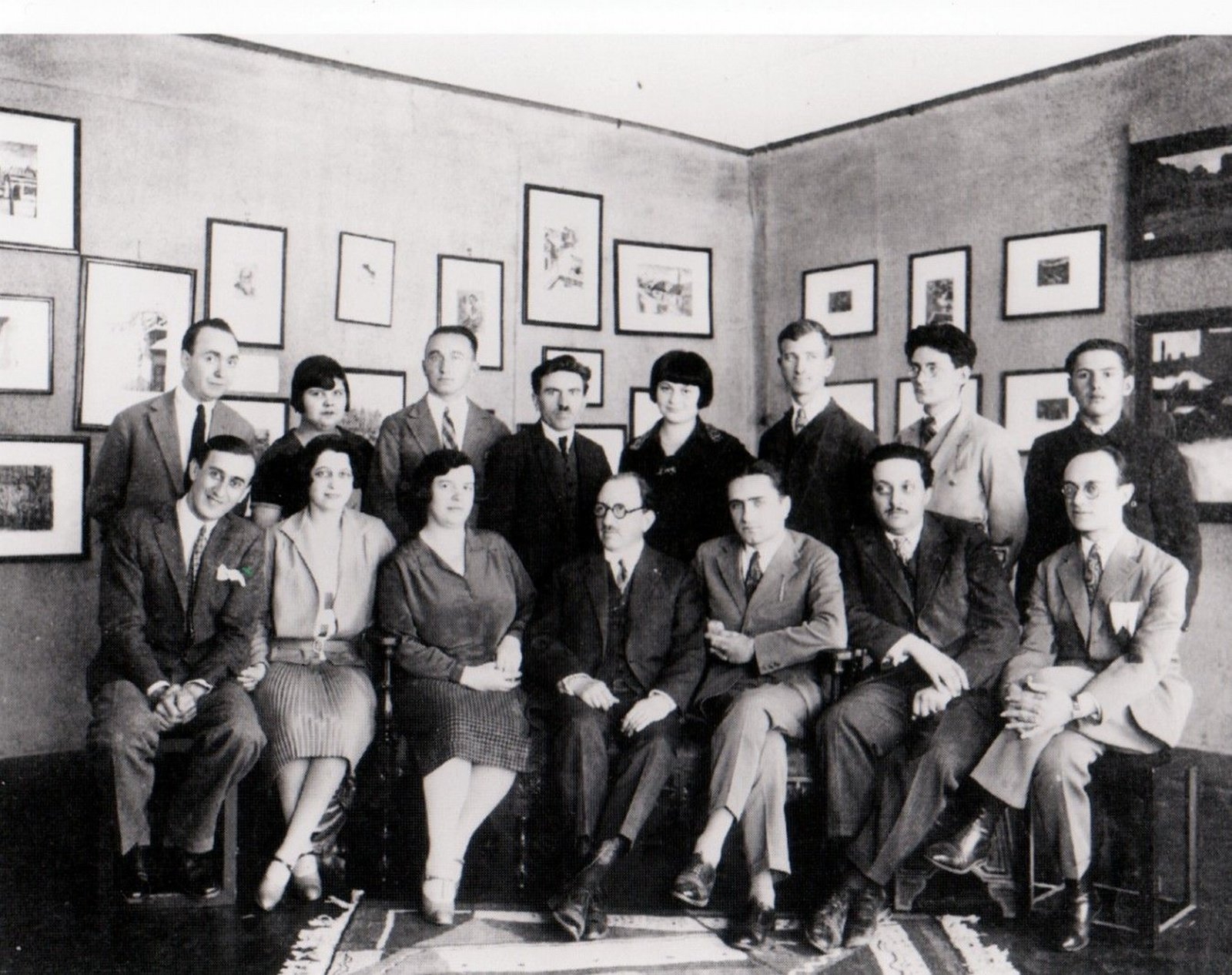 M. H. Maxy, first row first from the left, with his wife next to him and Marcel Janco, first row second from the right, Academy of Decorative Arts, Bucharest,, 1930, Unknown photographer, Josine Ianco-Starrels Collection, Copyright Not Evaluated