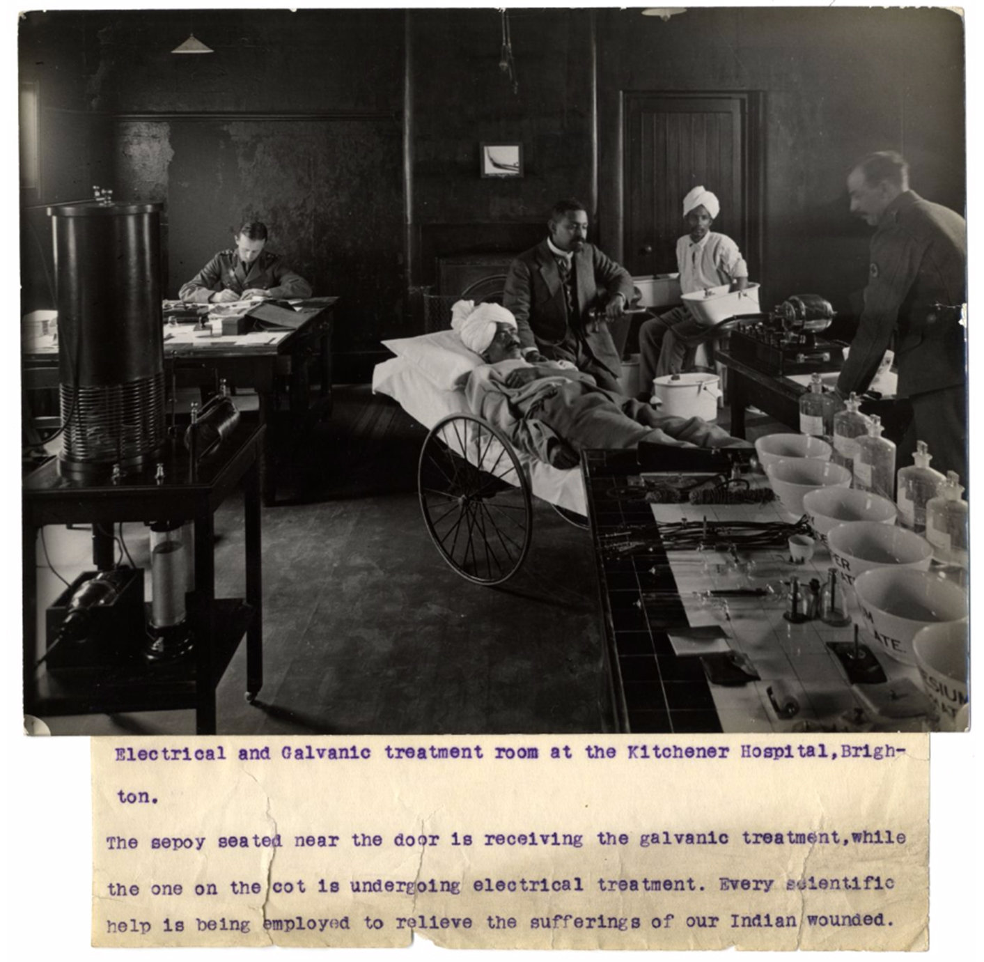 Indian soldiers are treated with electric shocks., H. D. Girdwood 1915 Brighton Electrical and Galvanic treatment room at the Kitchener Hospital, Brighton. Photographer: H. D. Girdwood., The British Library, Public Domain Mark
