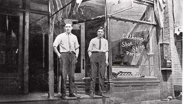 Shoe shine parlor, Two young men at the Athena Shoe Shine Parlor, New Haven, Connecticut., circa 1911, In Copyright