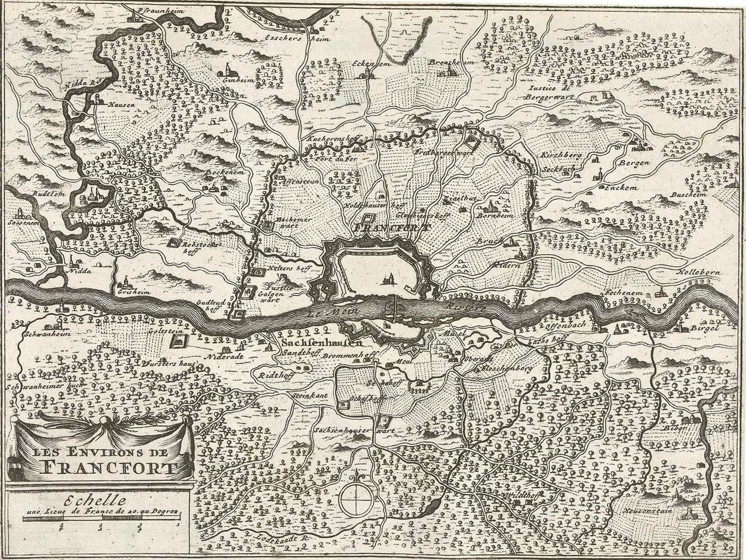 Map of the Frankfurt am Main region, 1726, anonymous, Rijksmuseum, Public Domain Mark