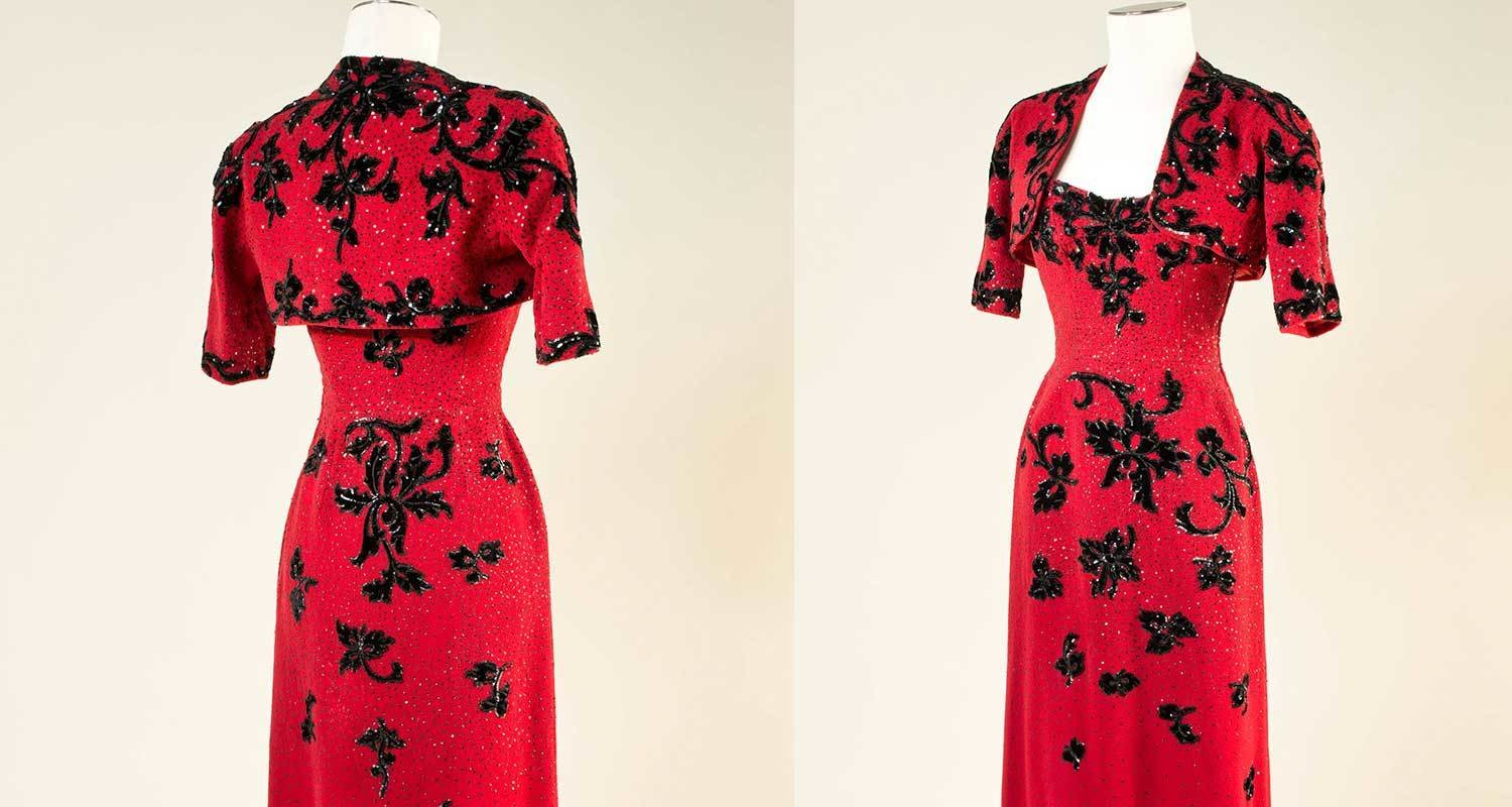 Red and black embroidered dress and bolero, 1947, , all rights reserved., Cristóbal Balenciaga, MUDE Museo do Design e da Moda, In Copyright