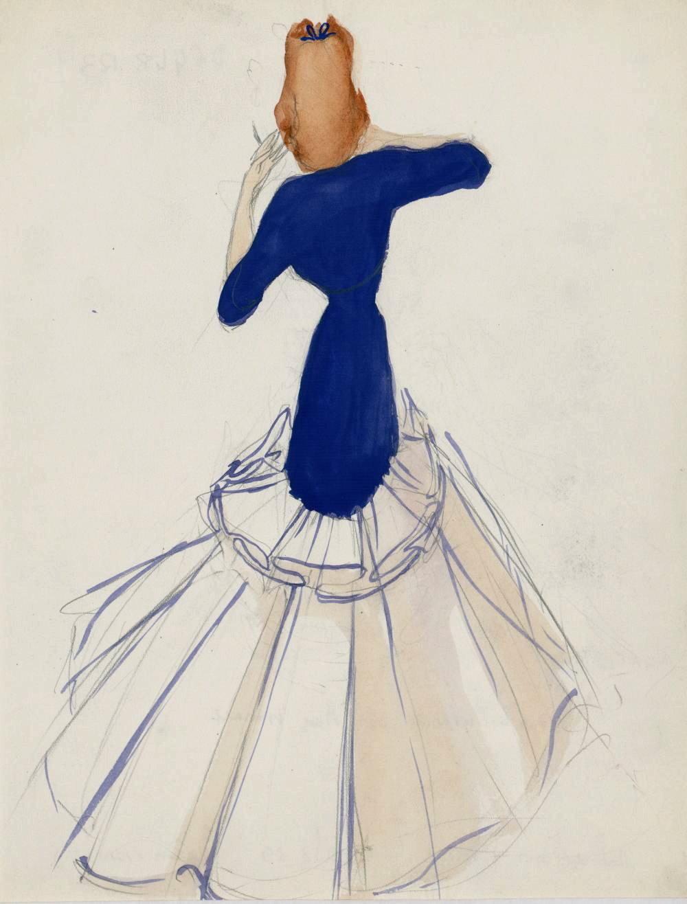 Drawing of a 'modèle de robe longue' (detail), 1938-39, Madeleine Vionnet, Les Arts Décoratifs, In Copyright