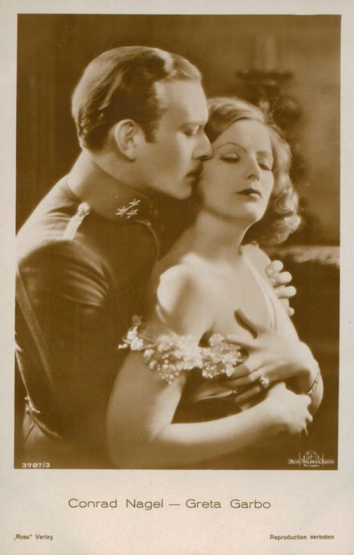 """Greta Garbo and Conrad Nagel in MGM's """"The Mysterious Lady"""", 1928, Metro-Goldwyn-Mayer, Maironis Lithuanian Literature Museum, Public Domain Mark"""