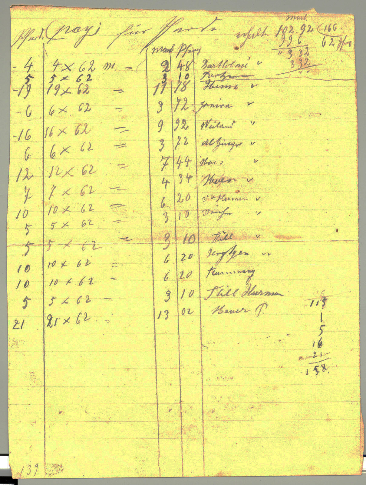 Calculation note for horse feeding fees, August 24th, 1914, Europeana 1914- 1918 / Collection Thillenvogtei, CC BY-SA