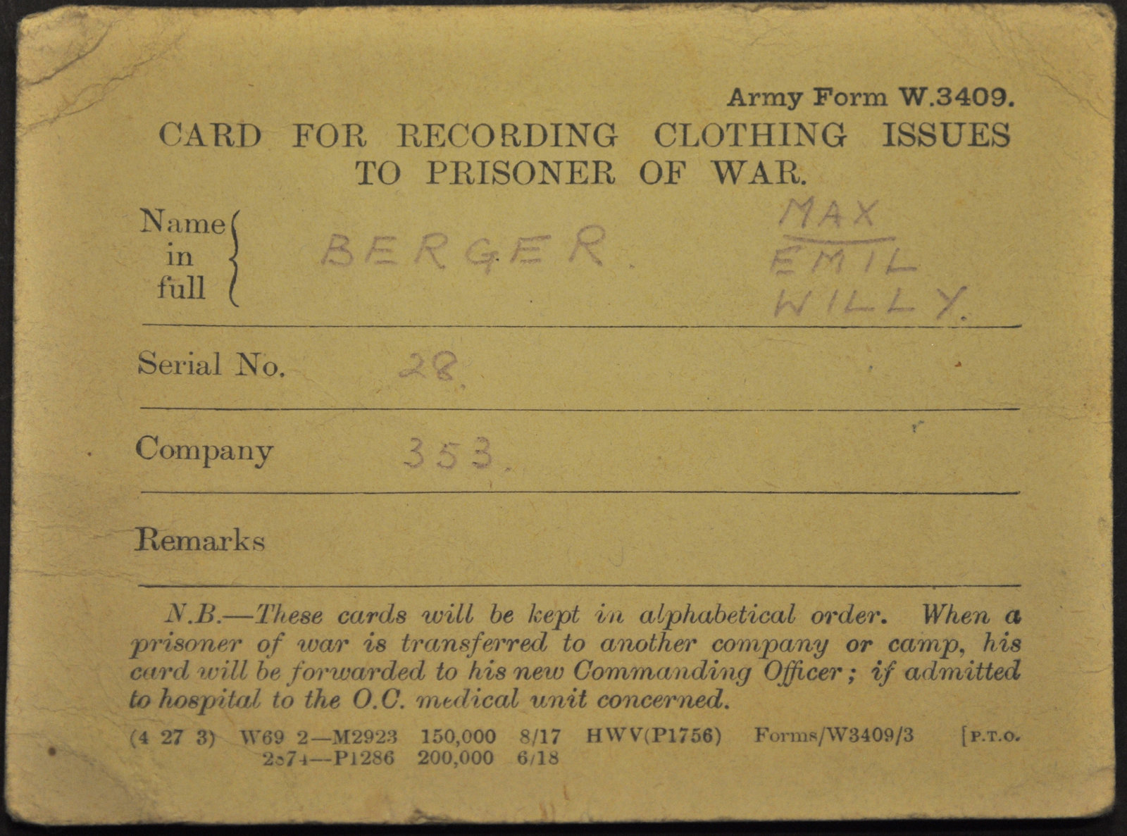 Card for recording clothing issues to Prisoner of War, 1918, Europeana 1914- 1918 / Helga Berger, CC BY-SA