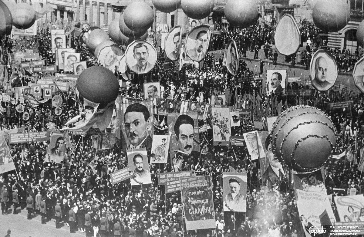 One of the first pictures of May Day in Moscow, 5 May 1936, , Topfoto.co.uk, In Copyright
