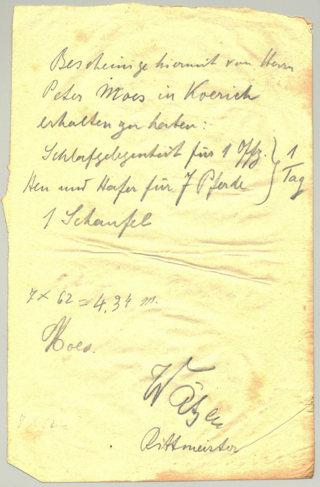 Receipt for lodging and feeding horses, August 24th, 1914, Europeana 1914- 1918 / Collection Thillenvogtei, CC BY-SA