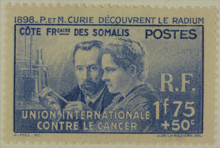 Stamp commemorating the 40th anniversary of the discovery of the radium by Pierre and Marie Curie.  Issued in 1938 for the benefit of the International Union Against Cancer (UICC)., Unknown creator, Museum Postal Office of Barcelona (Collection Marull), CC BY-NC