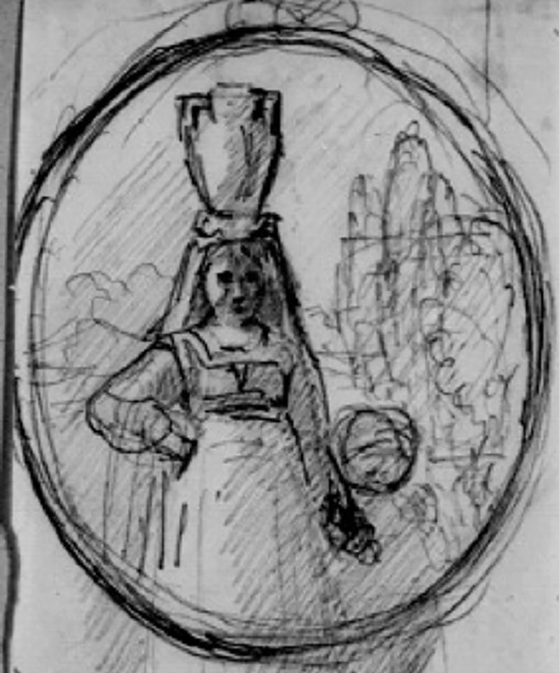 Woman with pot on head and child by hand, Amalia Lindegren, Nationalmuseum, Sweden, CC BY-SA