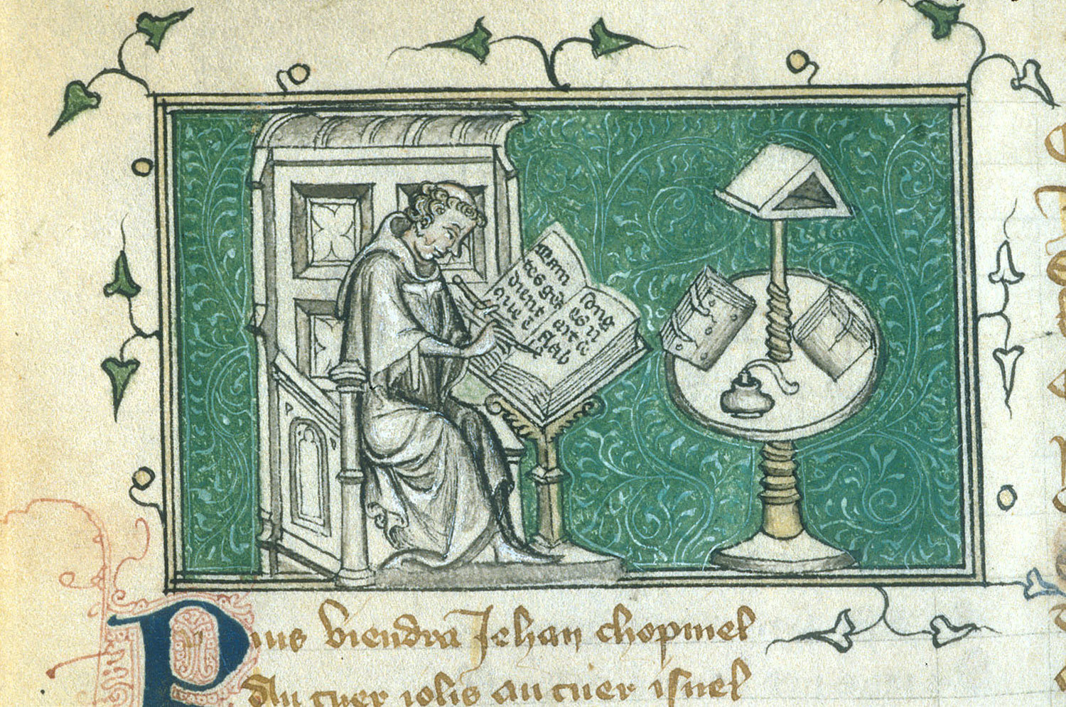 Jean de Meun writing in his study from BL YT 21, f. 69v, c. 1380, Guillaume de Lorris and Jean de Meun, British Library, Public Domain Mark