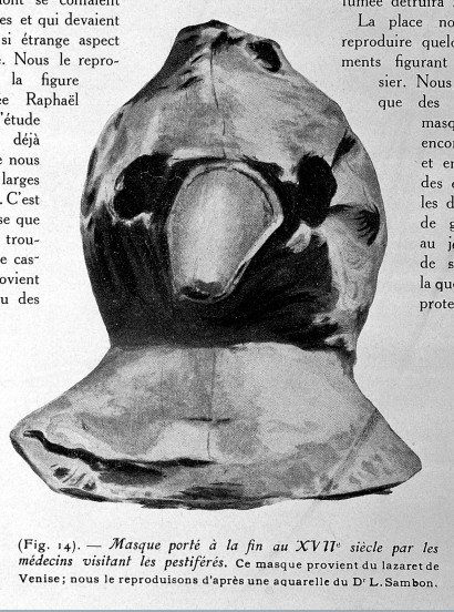 Mask used by a plague doctor, 1932, The Wellcome Library, CC BY