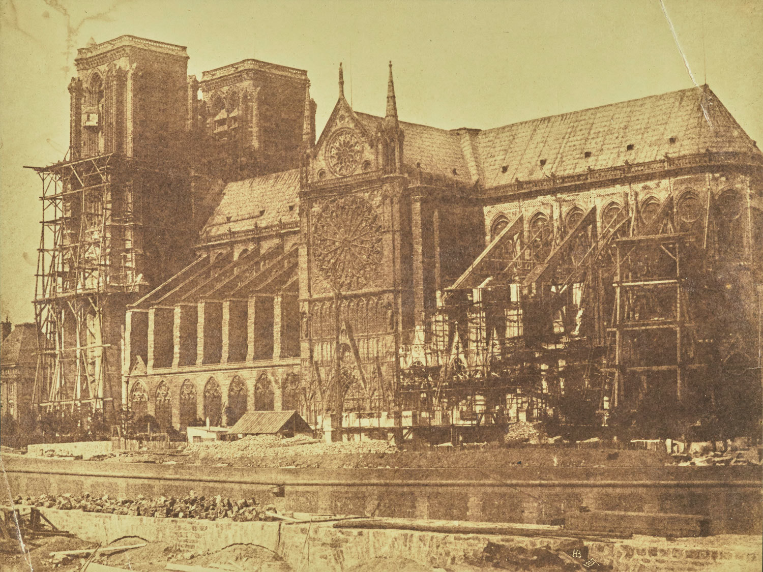 South side of Notre-Dame, Paris, during restoration, 1847 [Note the scaffolding has been set up along the side of one tower and below the flying buttresses], Hippolyte Bayard, The J. Paul Getty Museum, Public Domain Mark