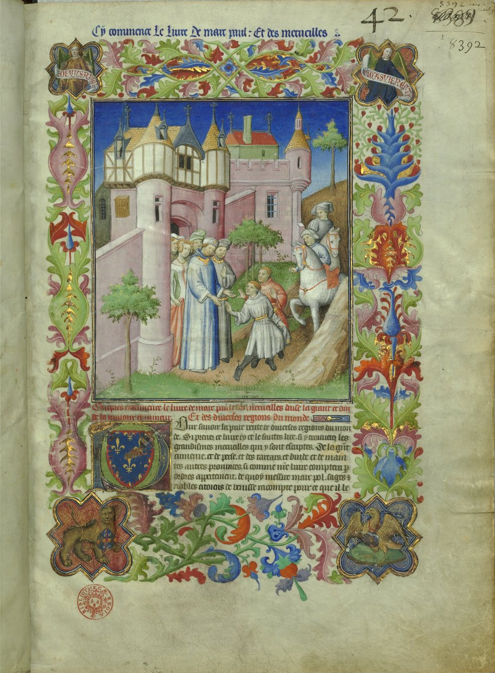 Anthology of travel literature and texts on the Orient f9, Paris, 15th century (1410-1412 ; c. 1470 for the miniature on f. 42v), Bibliothèque nationale de France, Manuscrits, Français 2810 Parchment, 299 ff., 420 x 298 mm., In Copyright