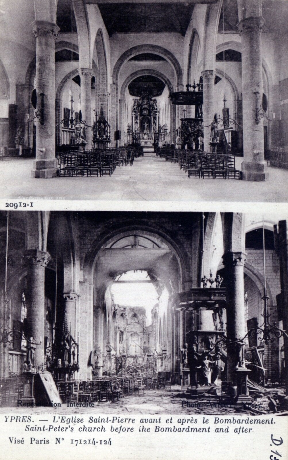 Ypres: Saint-Peter's church before the bombardment and after, 1914, Antony d'Ypres, Ghent University Library, CC BY-SA