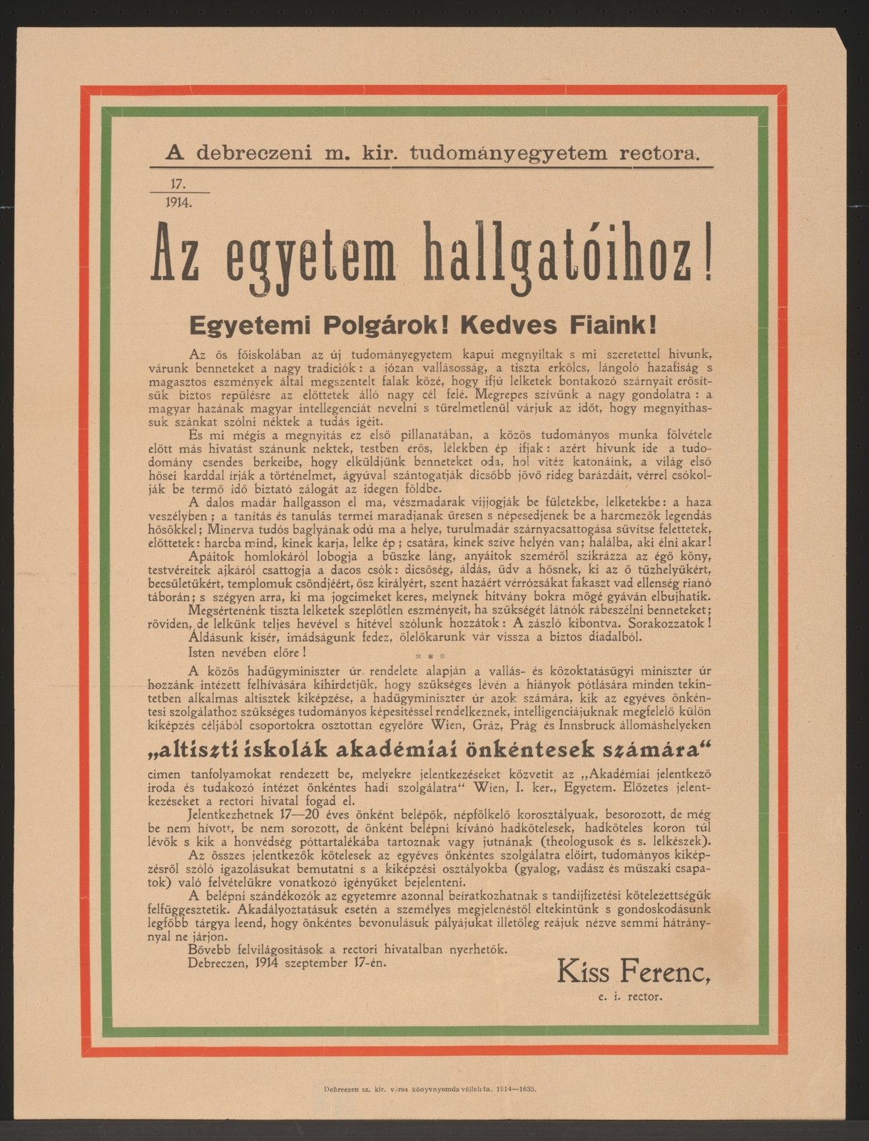 Recruting call adressing Hungarian students, 1914-09-17 Debrezin, Österreichische Nationalbibliothek - Austrian National Library, Public Domain Mark