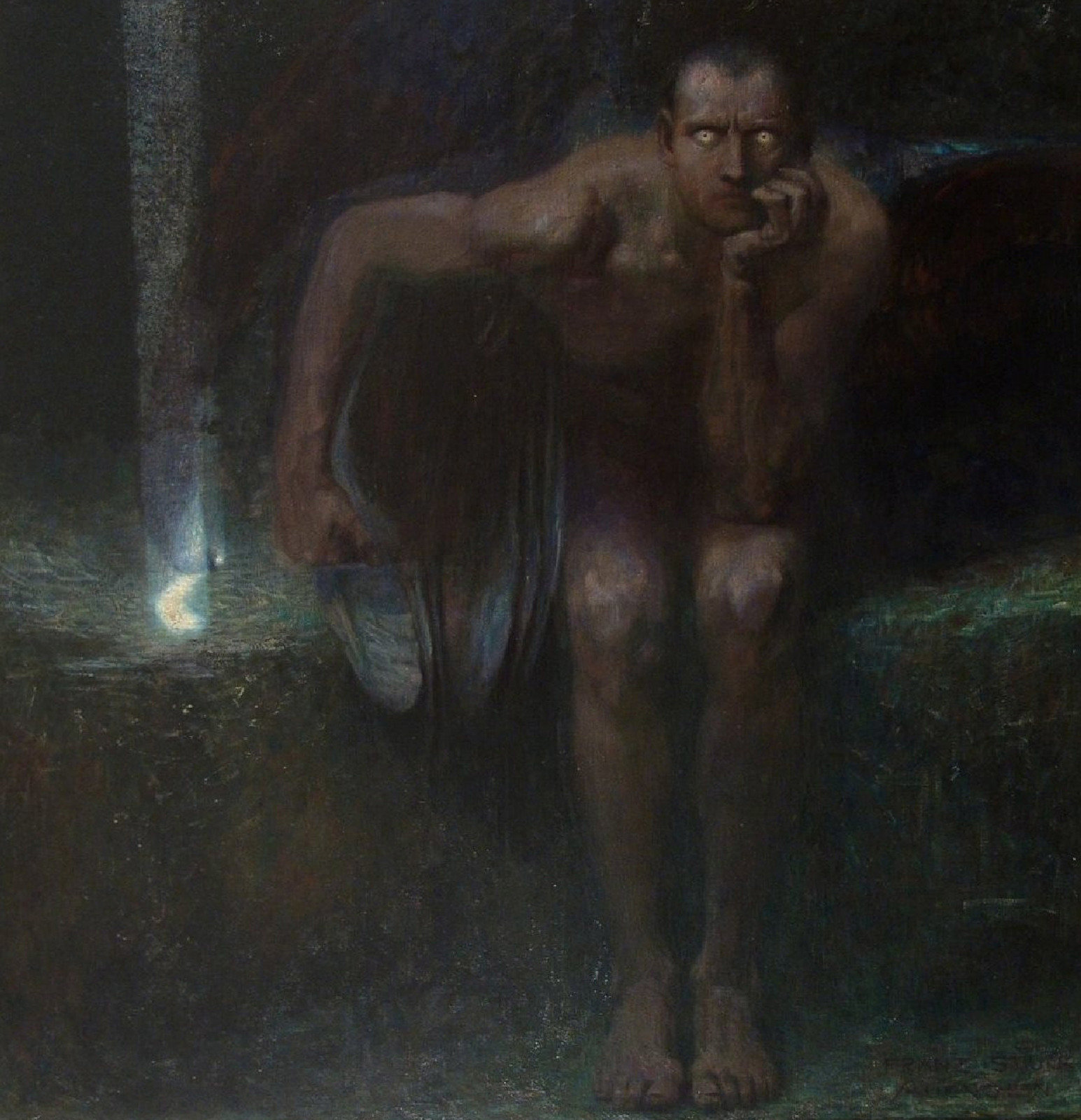 Lucifer, 1890, Franz von Stuck, National Gallery, Sofia, Public Domain Mark