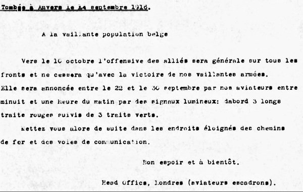 Message from the London headquarters for the Belgian population on the implementation of an offensive of the Entente, 1916-09 Anvers, Koninklijke Bibliotheek van België - Royal Library of Belgium (KBR), In Copyright