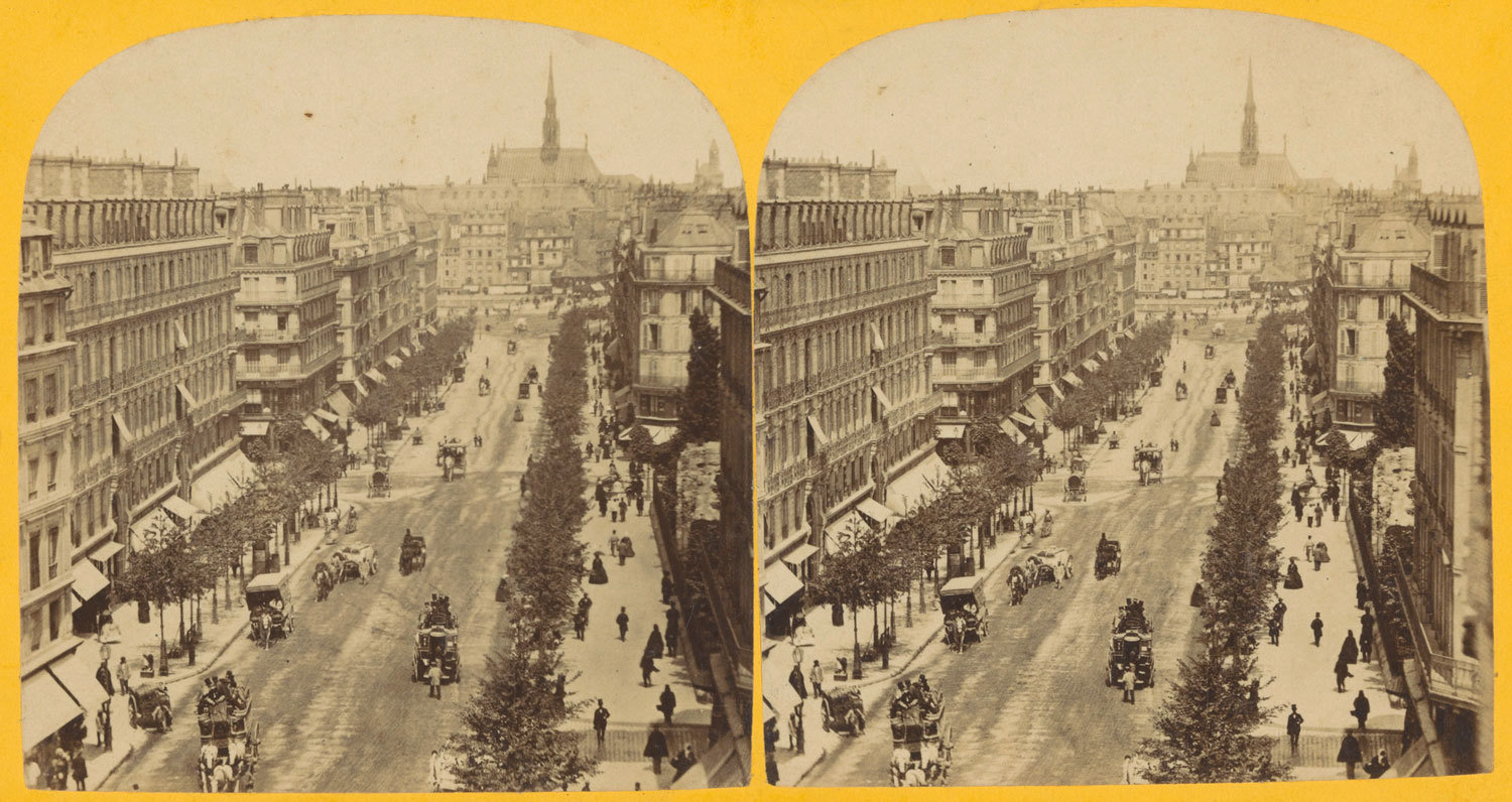 View of Boulevard Haussmann and Sainte-Chapelle, Paris, ca. 1850-1880, unknown photographer, Rijksmuseum, Public Domain Mark