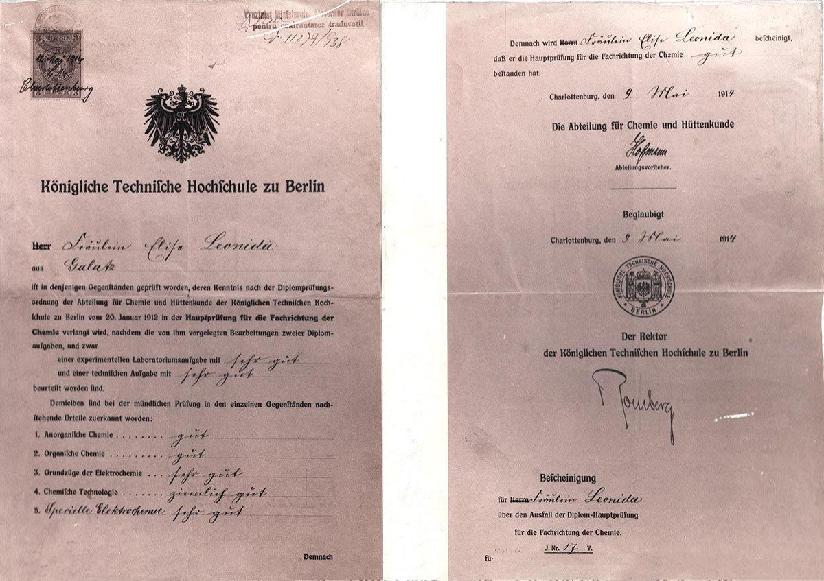 "The engineering licence awarded to Miss Elisa Leonida Zamfirescu, Royal Academy of Technology Berlin, Charlottenburg, National Technical Museum ""prof.ing. Dimitrie Leonida"", Bucharest, CC0"