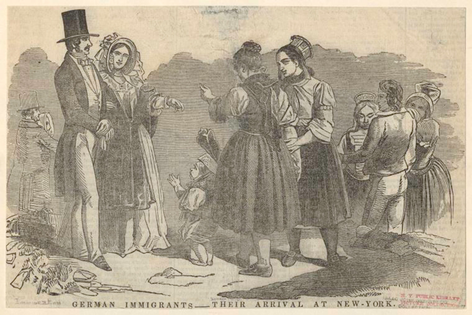 German immigrants - their arrival at New York, Isaac John Greenwood Collection, NYPL Digital Gallery, Public Domain Mark