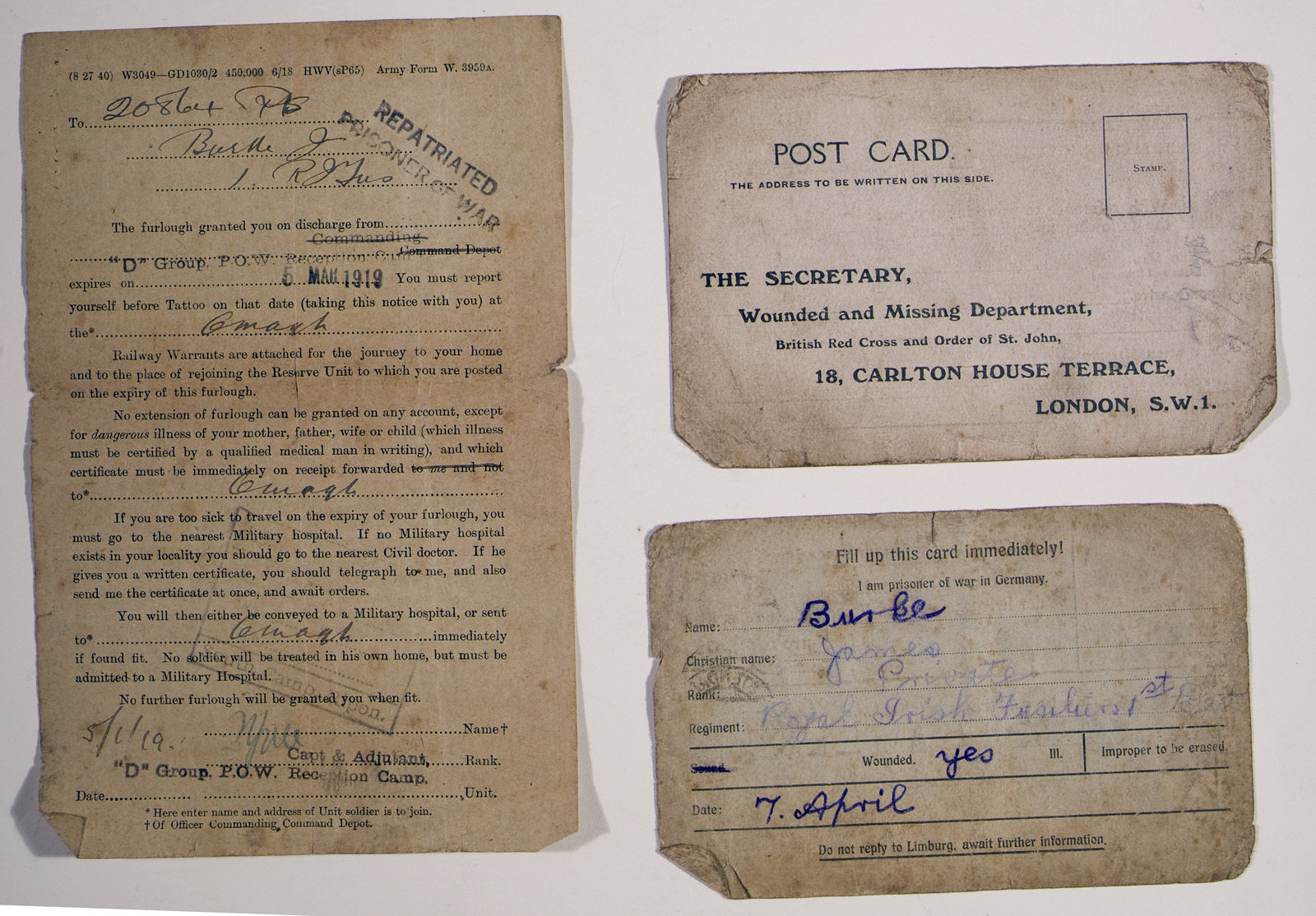 Items related to James Burke's experience as a prisoner of war, 6 March 1919, Europeana 1914-1918 / Don Mullan, CC BY-NC-SA
