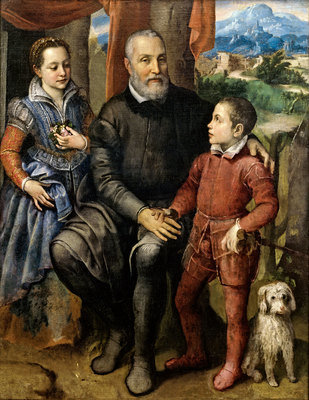 Portrait Group with the Artist's Father Amilcare Anguissola, Brother Asdrubale and Sister Minerva, 1559, Sofonisba Anguissola, Nivaagaards Malerisamling, CC0