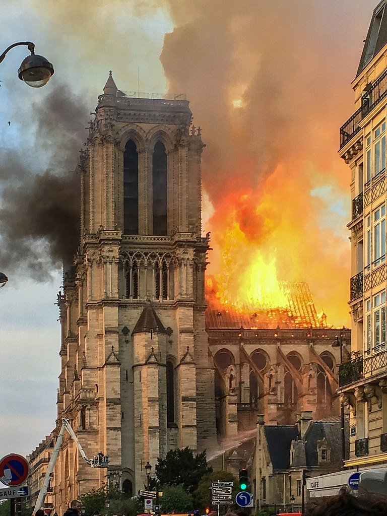 Fire at Notre-Dame de Paris, April 15 2019, LeLaisserPasserA38, Wikimedia Commons, CC BY-SA