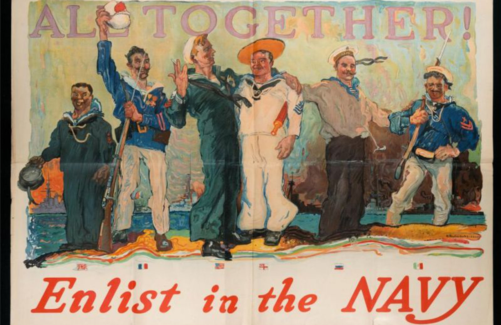 Promotional poster for the navies of the allies, Reuterdahl, Henry, Biblioteca Universitaria Alessandrina, In Copyright