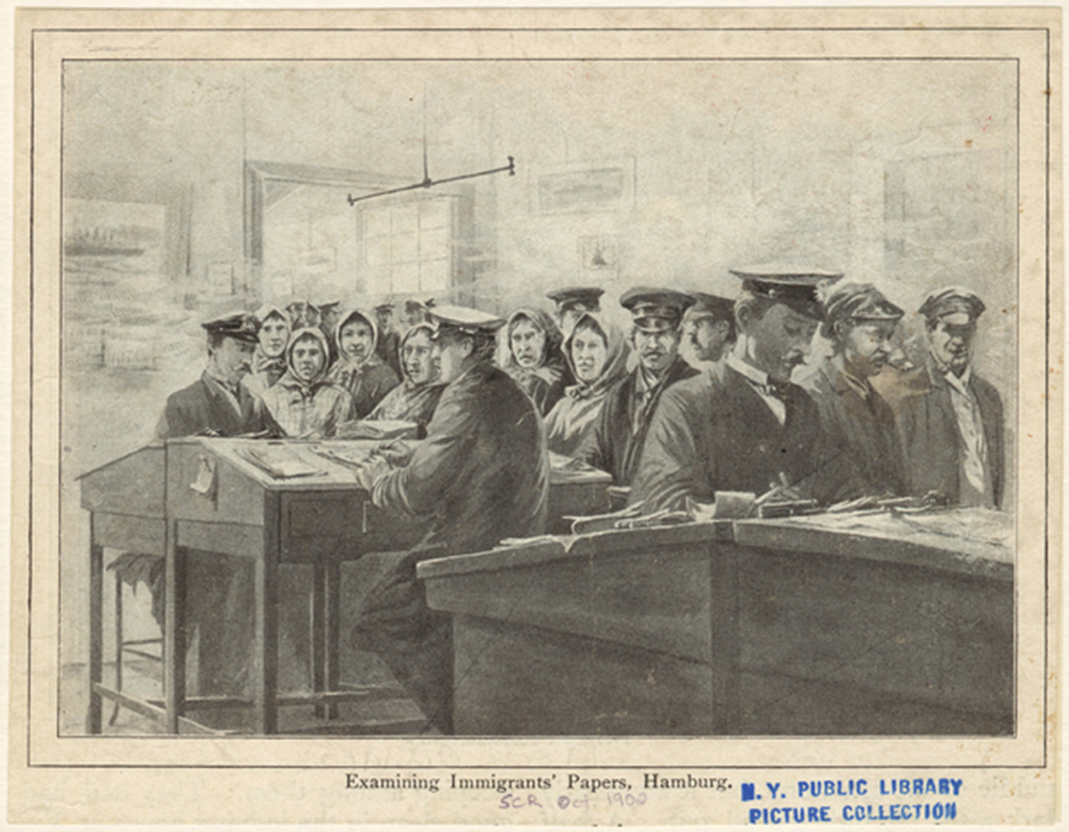 Examining immigrants' papers, Hamburg, Scribner's magazine.1900, New York, NYPL Digital Gallery, Public Domain Mark