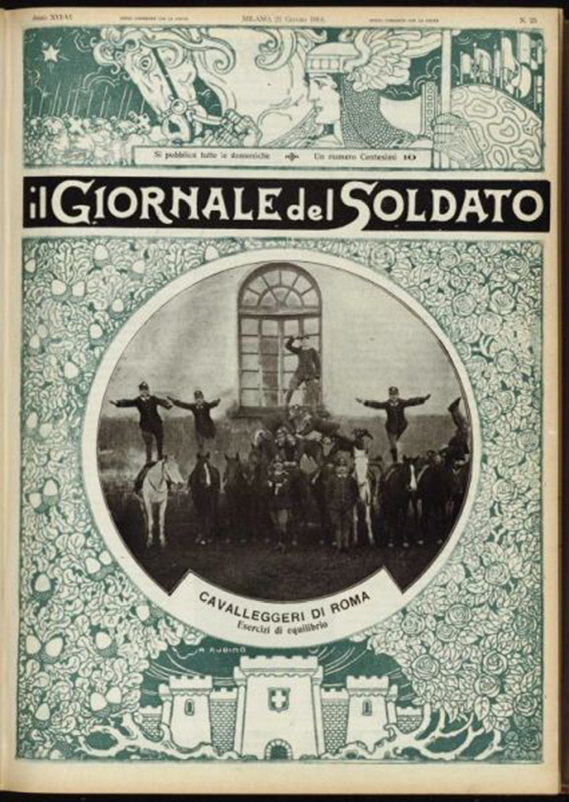 Soldiers have practiced feats, 1914 Il giornale del soldato, Istituto centrale per il catalogo unico, In Copyright