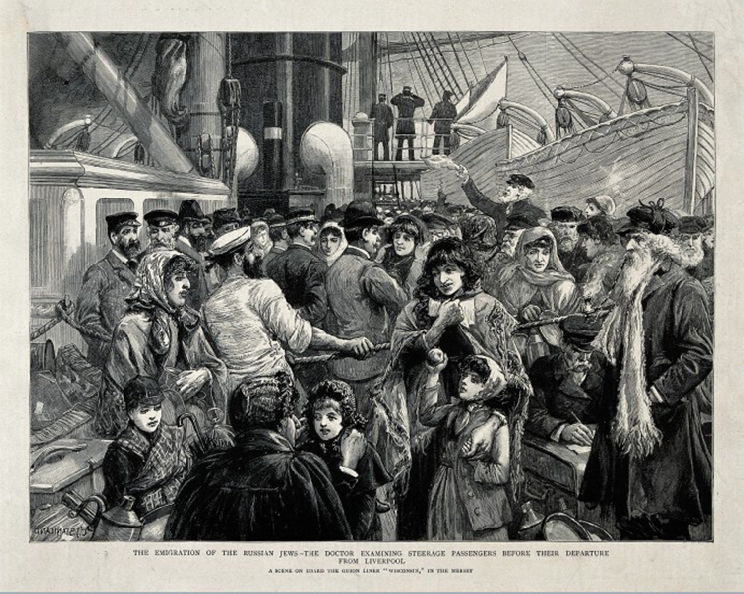 Russian Jews being examined by a doctor, Russian Jews being examined by a doctor before emigration from Liverpool. Wood engraving, 1891, The Wellcome Library , CC BY