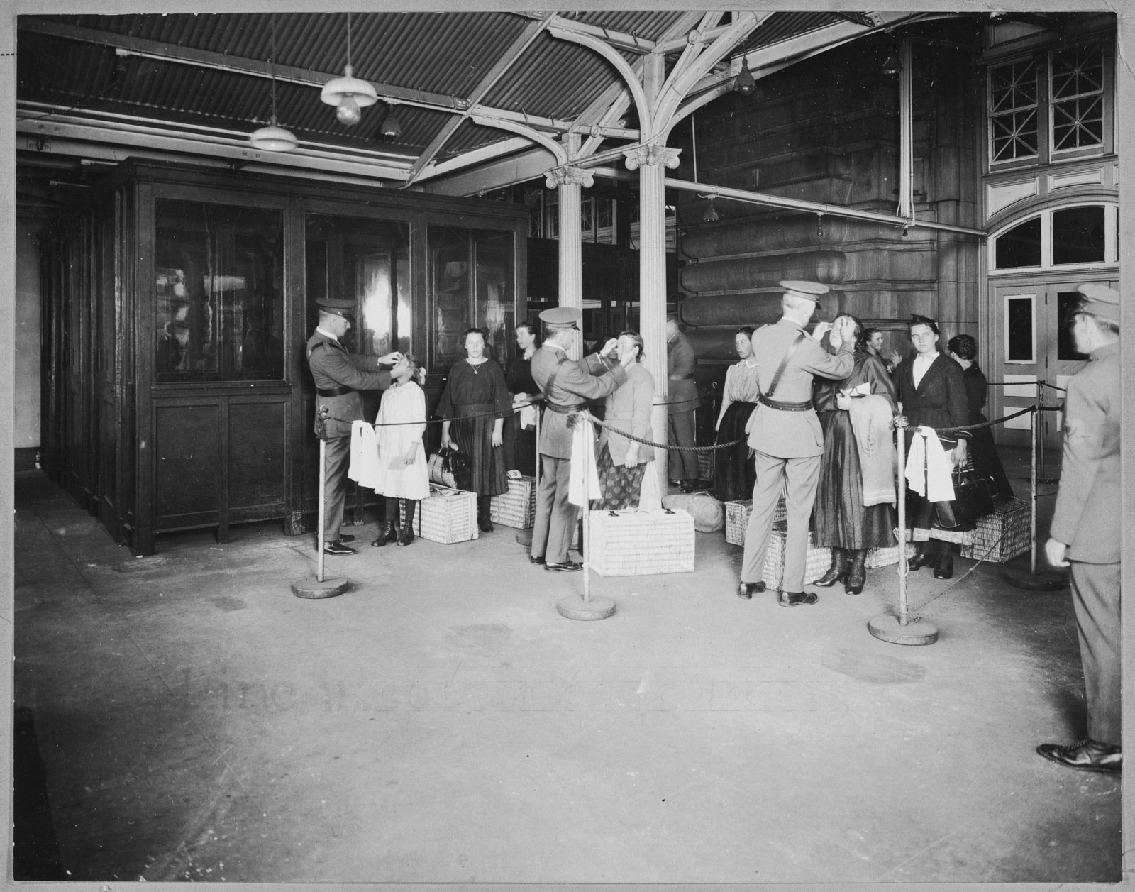 Ellis Island, N.Y. Line Inspection of Arriving Aliens, 1923, NARA ARCweb, In Copyright