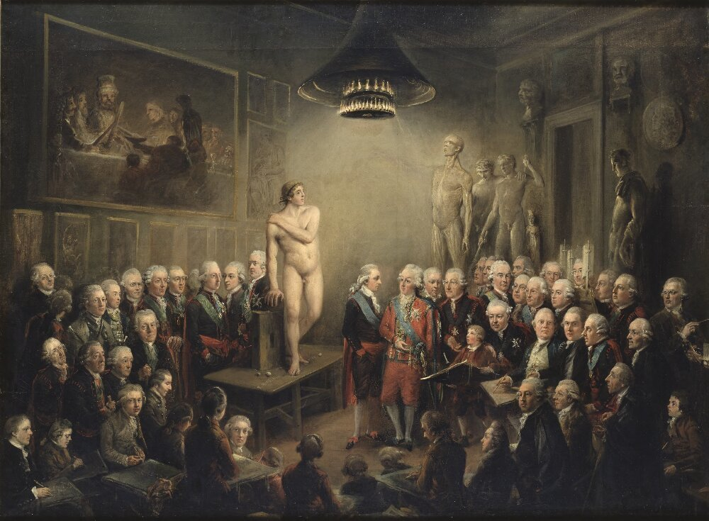 King Gustav III Visits the Academy of Fine Arts in 1780, 1782, Elias Martin, Nationalmuseum, Sweden, Public Domain Mark