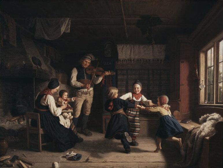 Sunday Evening in a Farmhouse in Dalarna, Amalia Lindegren, Nationalmuseum, Sweden, Public Domain Mark