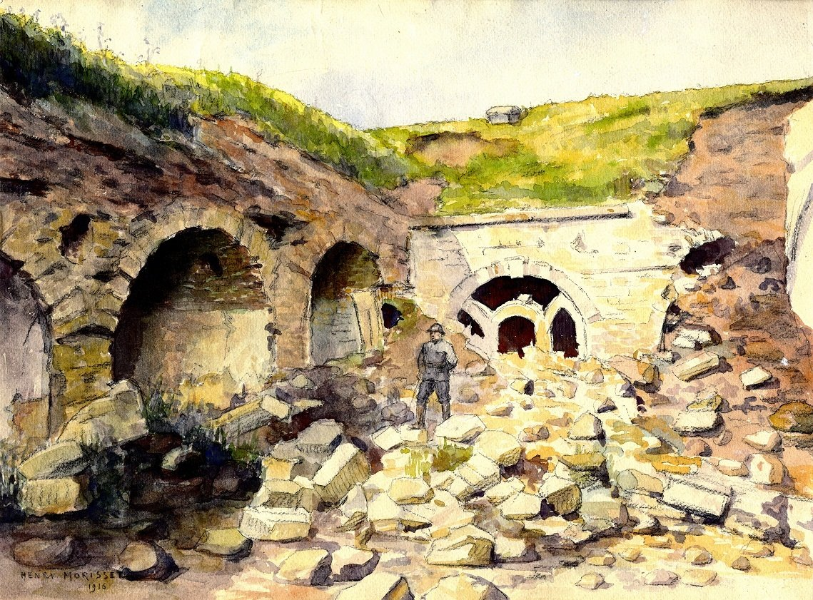 A soldier in the middle of ruins, 1916, Henri Morisset, Europeana 1914-1918 / Anne-Marie Winsback, CC BY-SA