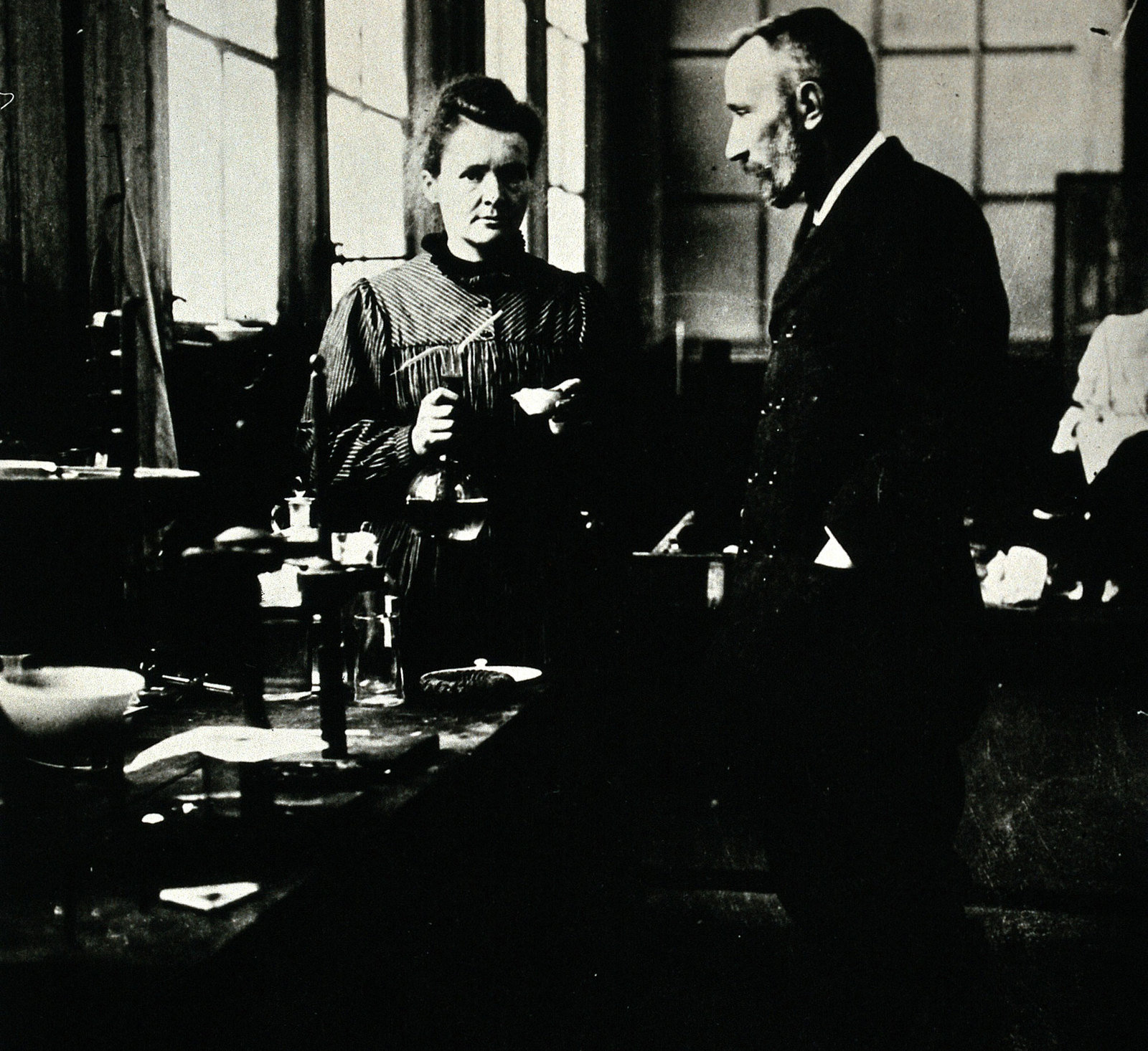 Marie and Pierre Curie in their Paris laboratory, ca. 1900, , Wellcome Collection, CC BY