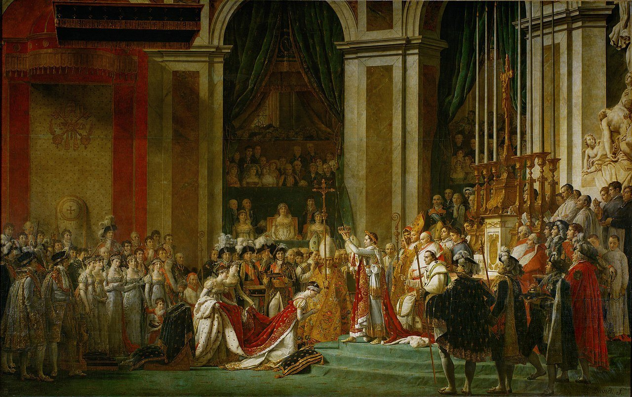 Coronation of Emperor Napoleon I and Coronation of the Empress Josephine in Notre-Dame de Paris, December 2, 1804, Jacques-Louis David, Wikimedia Commons, Public Domain Mark