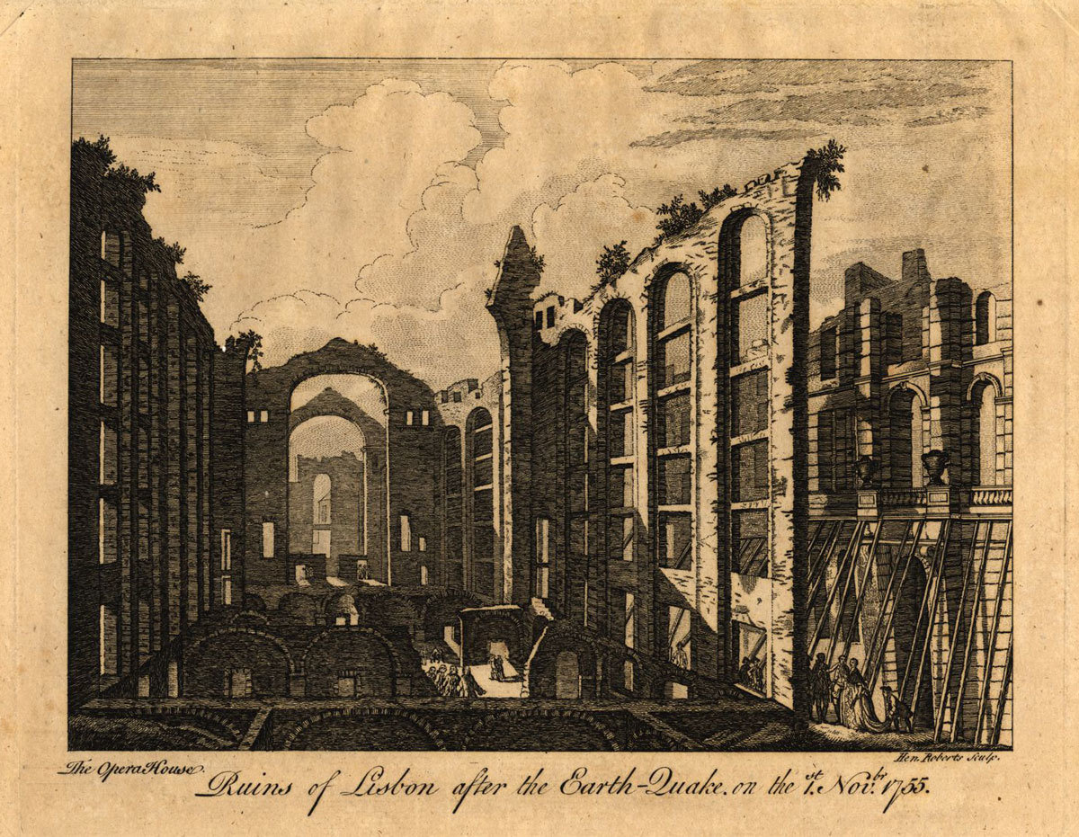 Ruins of Lisbon after the EarthQuake on the 1st November 1755: the Opera House, Henry Roberts , Biblioteca Nacional de Portugal, Public Domain Mark