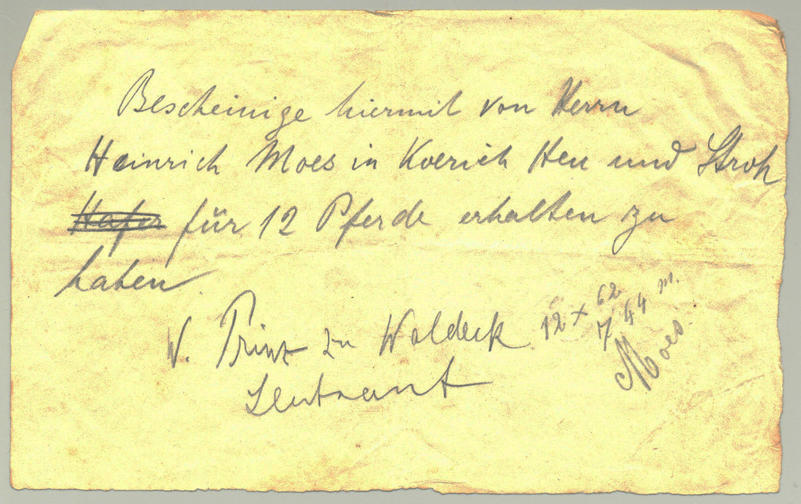 Receipt for feeding horses J. Prinz zu Waldeck, August 24th, 1914, Europeana 1914- 1918 / Collection Thillenvogtei, CC BY-SA