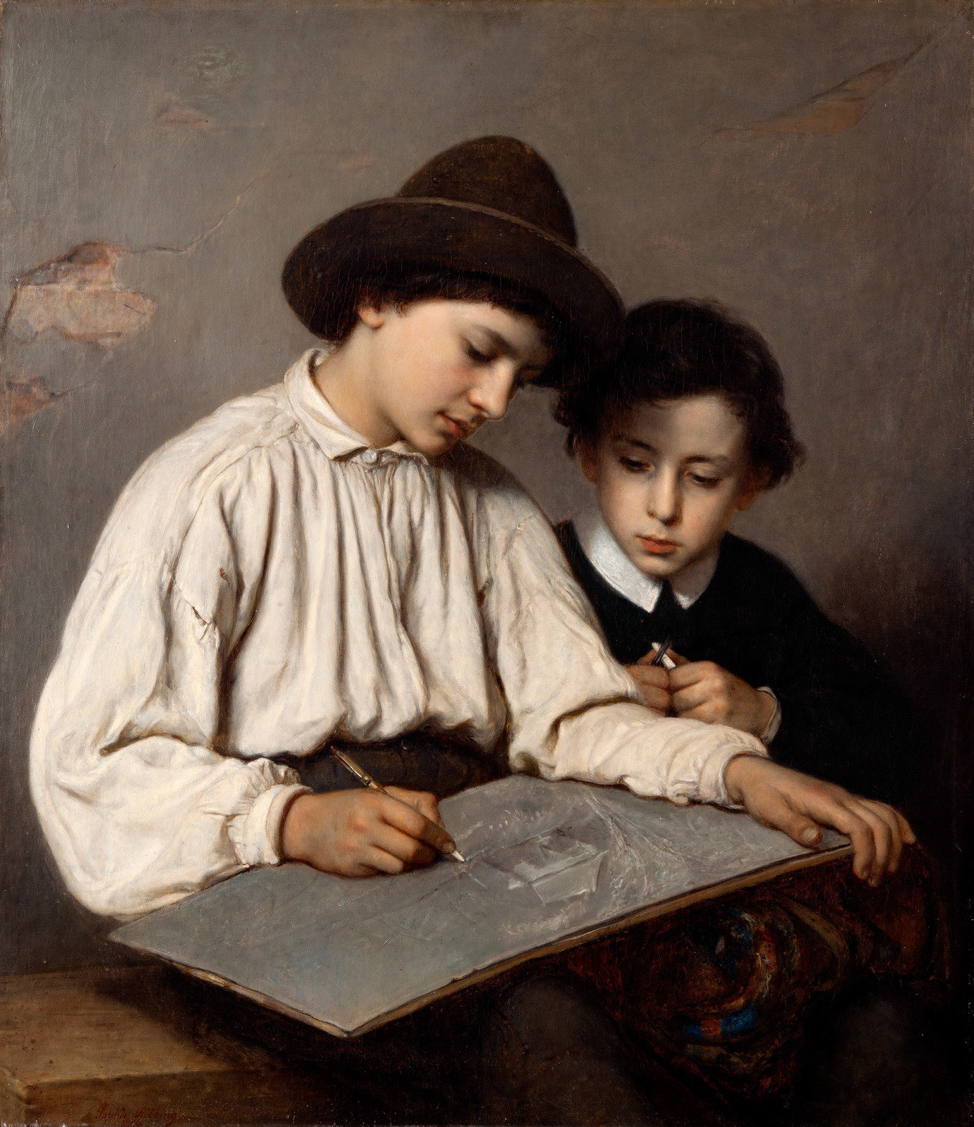 Boys Drawing, 1864, Sofie Ribbing, Gothenburg Museum of Art, CC BY-NC