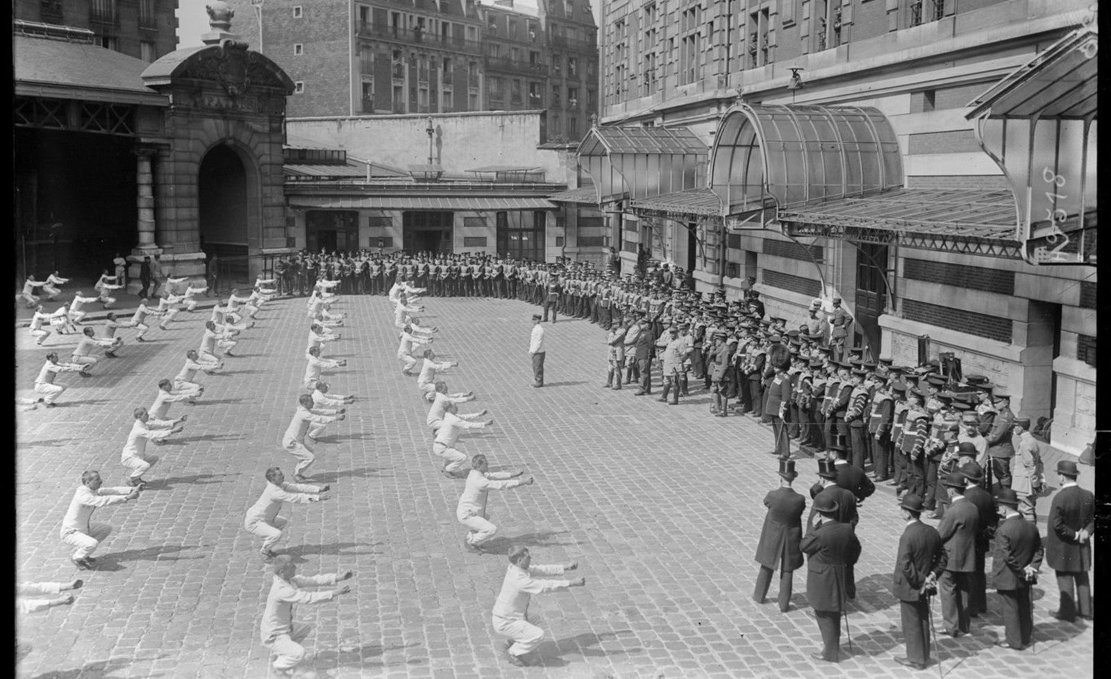At the barracks in the centre of Paris: Physical Education with a military band, 1917 Paris, French National Library - Bibliothèque Nationale de France, Public Domain Mark