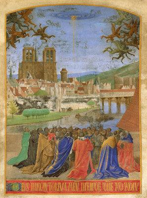 La mano destra di Dio che protegge i fedeli contro i demoni, ca. 1452–1460, Jean Fouquet, Metropolitan Museum of Art, CC0