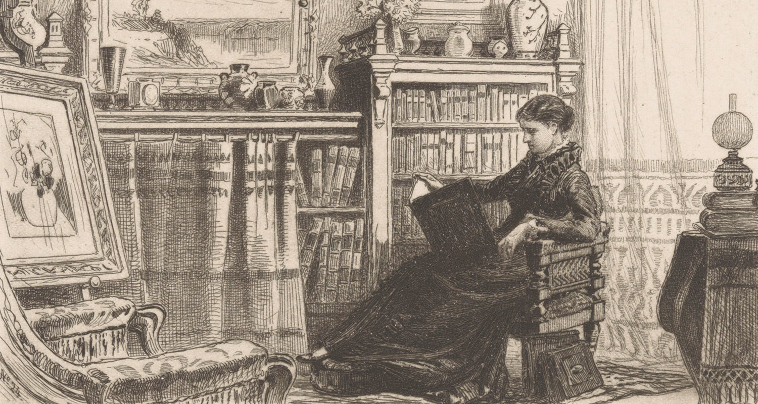 Woman reading in a library, 1883, James David Smillie, Rijksmuseum, Public Domain Mark