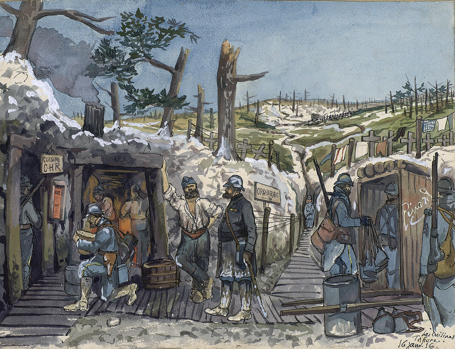Trench scene on the Western Front, 1915-1917, Alphonse Robine, Europeana 1914-1918 / Madame Nicole Robine, CC BY-SA